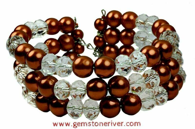 B41 Crystal Quartz & Light Brown Pearls - Lois - Multi Strand Bracelet, Prom Gala, Holiday, Holiday Cocktail Bridesmaids, Bridal Wedding Pa