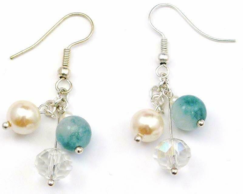 Ivory Cream Pearls, Green Jade Gemstone and Crystal Quartz Handmade Earrings