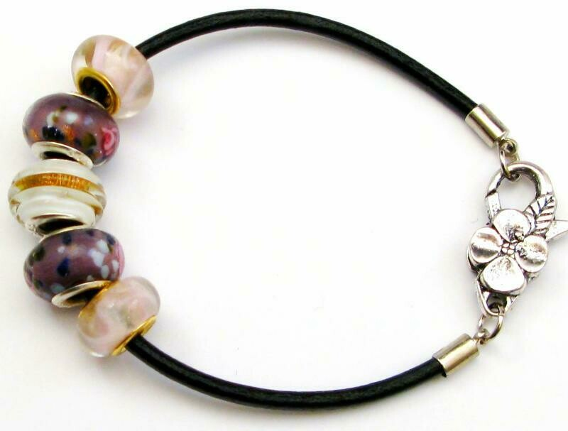 Pink and Purple Swirls Leather Cord Bracelet