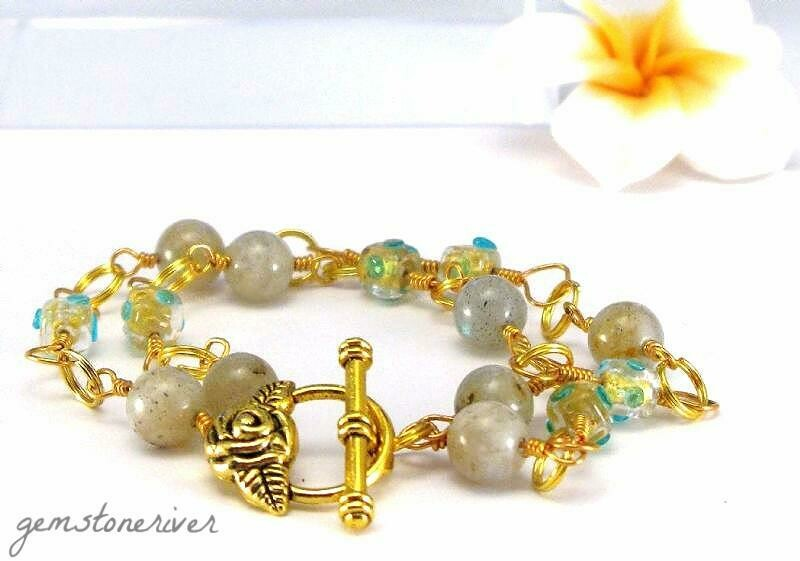 B4 Aquamarine & Labradorite gold bracelet & Earrings| Gemstoneriver®