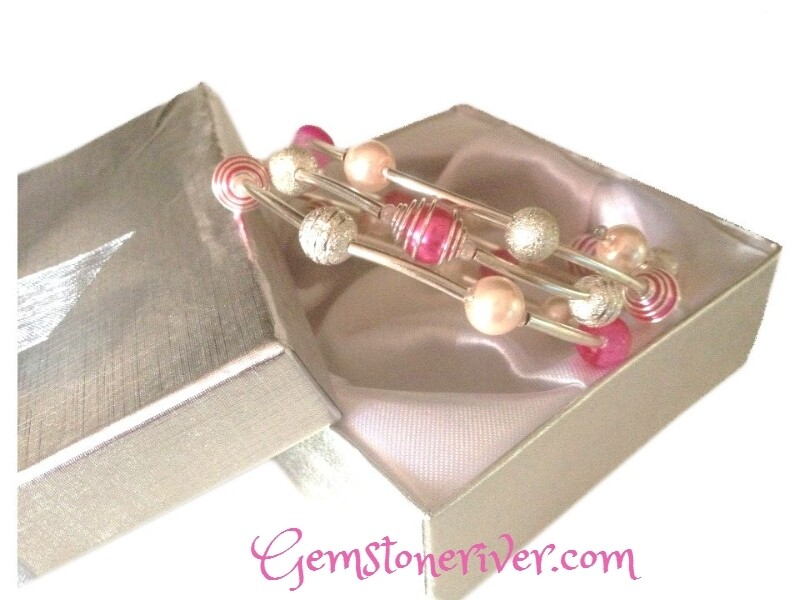 B160 Pink Cerise fuchsia agate gemstone silver spiral bracelet flexible cuff multi-strand - Gemstoneriver UK