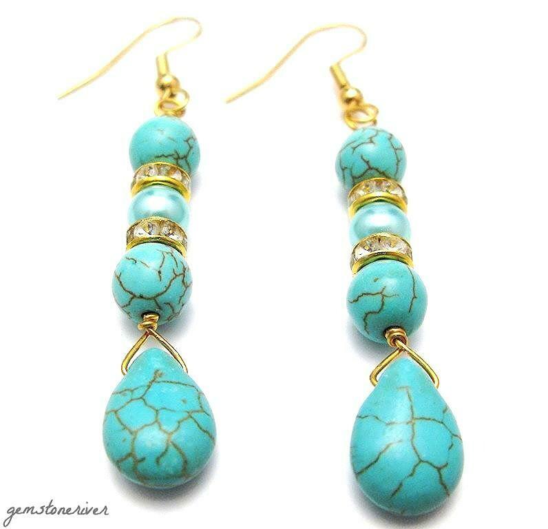 Boho Turquoise Blue gemstone earrings with gold crystal rondelles - Amalfi