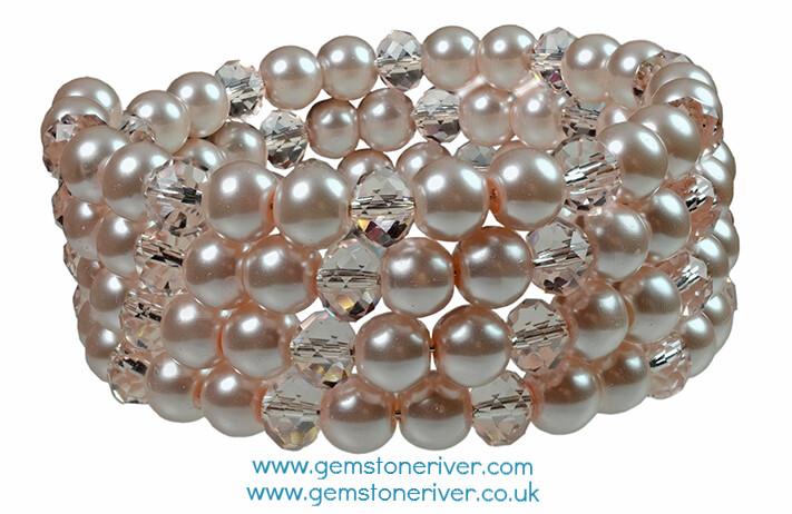 B89 Pink Pearls and Pink Rosaline Crystal Quartz Multi-strand Flexible Cuff Bracelet - Gemma Gemstoneriver UK bridesmaid wedding
