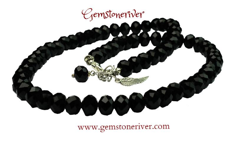 Crystal black onyx necklace angel & angel wing charm