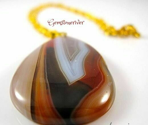 G75 SOLD -Bold Gemstone Pendant  Brown Taupe Amber and Beige Striated Agate Unique Necklace, ONE OF A KIND OOAK Unique Imperial Jasper Party