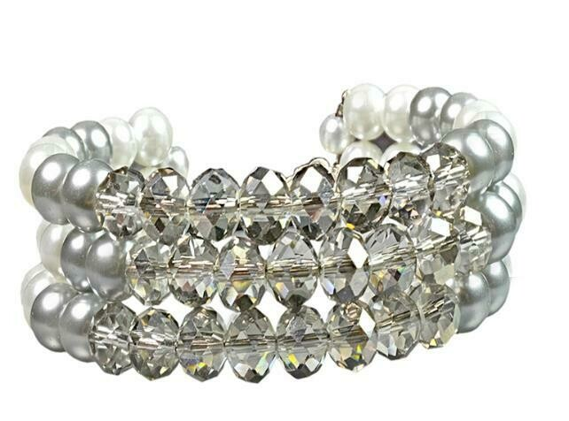 Crystal Grey & White pearl cuff bracelet set Multi-strand flexible bracelet & Earrings - Holiday, Beach Party, Bridesmaids, Prom Chic