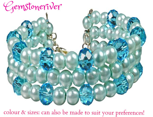 Crystal & Light Blue Pearls Multi-strand bracelet set