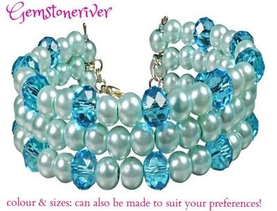 Crystal & Light Blue Pearls Multi-strand bracelet set