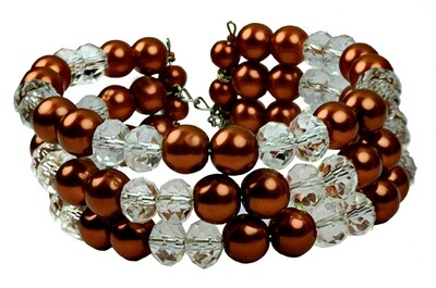B139 Crystal Quartz & Dark Brown Pearl Cuff Bracelet - Bridesmaids, Wedding, Prom, Halloween gift