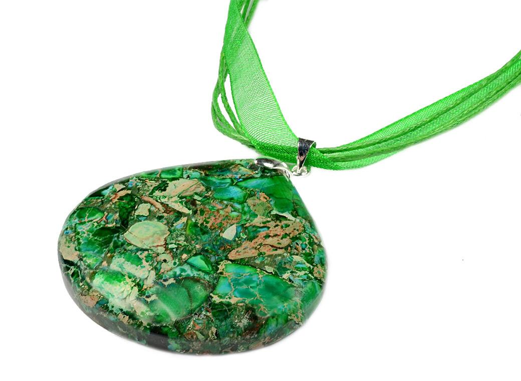 G59 Gemstone Pendant - Green Beige/Cream Gold Speckled Jasper agate Statement Elegant Glamorous Halloween Bridesmaids Party Necklace