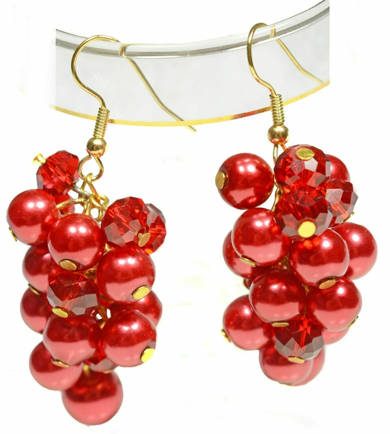 Red hot pearls & ruby red crystal earrings - Scarlett Cocktail Bridesmaids Prom Wedding Party beach holiday jewellery UK Gemstoneriver
