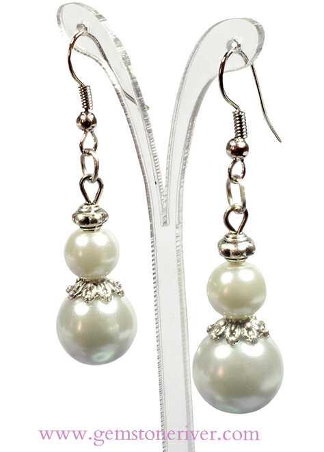 E109 White Pearl Bali Silver Dangle Earrings - Bridesmaid Flower Girl Bridal Wedding Party Bridesmaids Gift Gemstoneriver UK