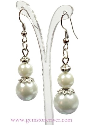 E109 White Pearl Bali Silver Dangle Earrings - Bridesmaid Flower Girl Bridal Wedding Party Bridesmaids Gift Gemstoneriver UK