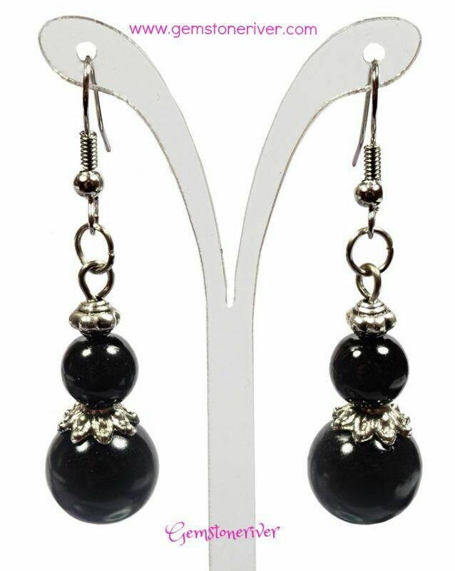 E324 Black Pearl Bali Silver Drop Dangle Earrings - Bridesmaids Prom Dinner Gala Party Bridesmaid Office Mother's Day  Designer UK Jewellery