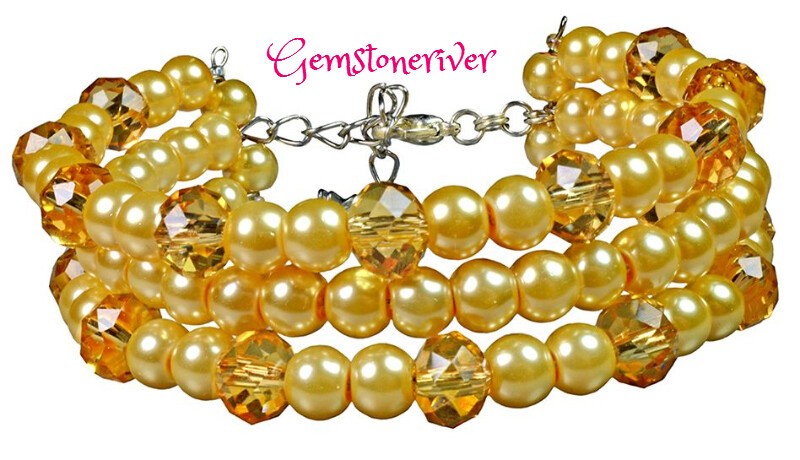 B99 Yellow Gold Citrine Crystal & Pearls - ADELE- 3 strand flexible Cuff Bracelet &Earrings SET Bridesmaid Party  Flexible, Chunky Statement Jewellery