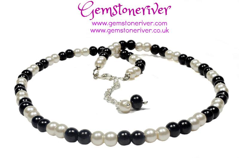 Black and Ivory Cream pearl 3pc Necklace, Bracelet & Earring Set | Gemstoneriver®
