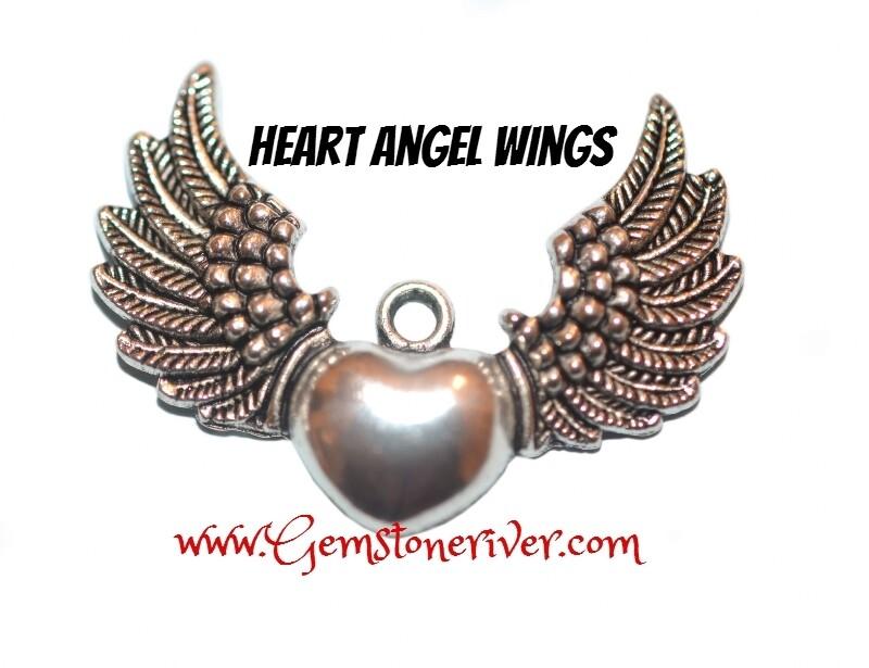 Angel Heart Hot Wings Funky Charm - Tibetan Silver Jewellery | Gemstoneriver®