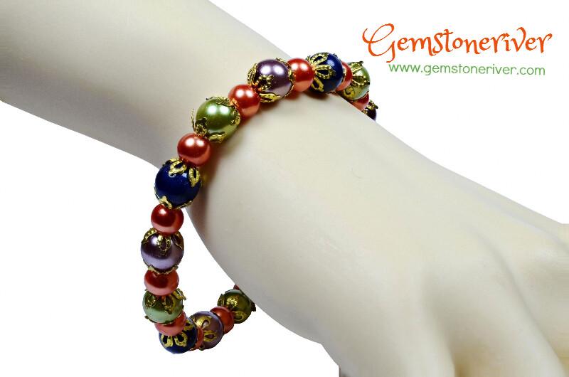 Orange, Olive Pearls Lapis Lazuli Gemstone Bracelet