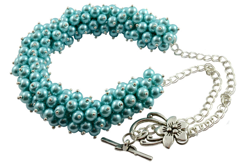 N19 Blue Turquoise Pearl Cluster Chunky Necklace - Bridesmaids Prom Beach Mother's Day Romantic Party Jewellery |  Gemstoneriver®