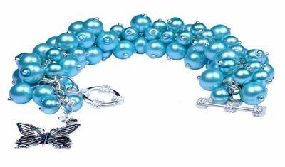 Chunky Bold Pearl Cluster Bracelet Blue Turquoise Bracelet set