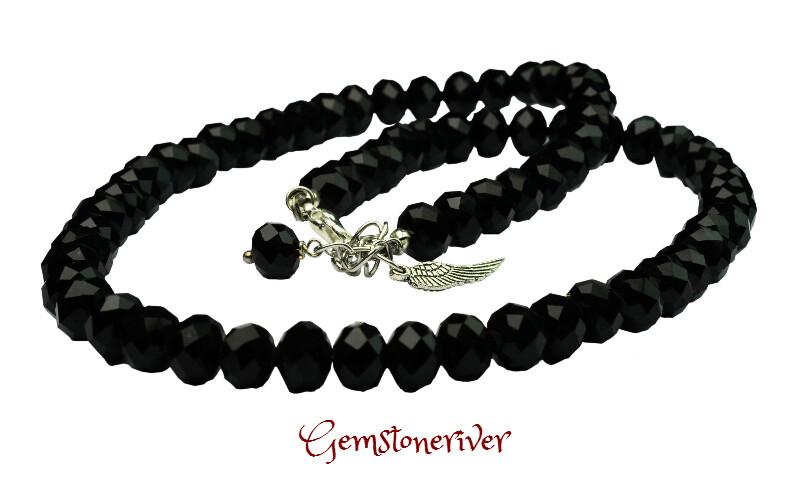 Crystal black diamond crystal necklace & wing charm