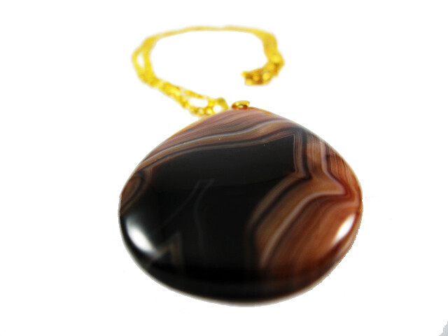 Gemstone Pendant -  Gorgeous Chocolate Brown, Mocha and Taupe Striated Unique Agate ONE-OFF Necklace