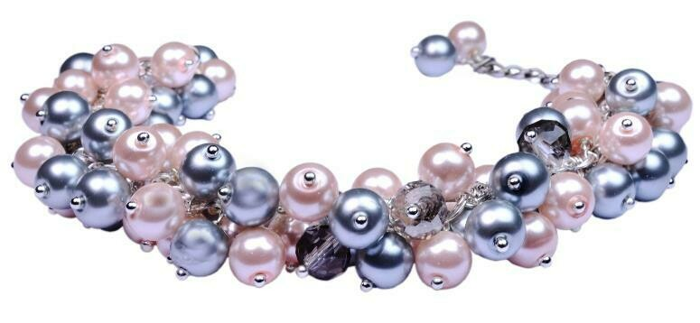 Sparkling French Grey & Pink Pearl Crystal Cluster Bracelet Earrings  Wedding Romantic, Bridesmaid Valentine