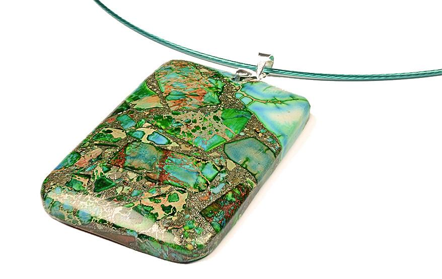 Gemstone Pendant - Emerald Sea Green  Azure Beige Aquamarine blue Silver speckled Imperial Sediment Jasper Unique Necklace Gemstoneriver®