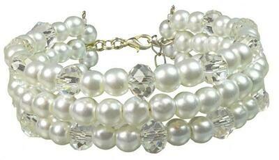 B45 Crystal & white Pearl multi-strand flexible memory bracelet & earrings set - FLEUR Statement Wedding Jewellery