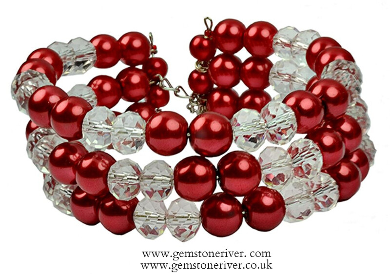 B35 Stylish red crystal & Pearl bracelet free earrings set 3 strand flexible Bridesmaids Holiday prom Party, Chunky Statement