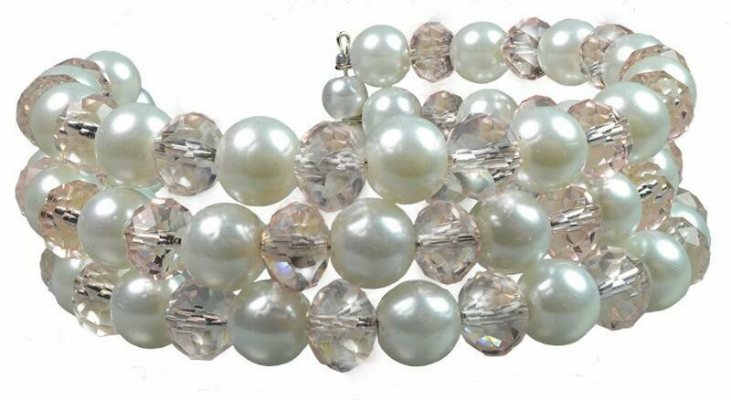 B39 Crystal Pink Quartz & White Pearls - Emma - Multi-strand, flexible, Bridesmaids, Summer, Party, Chunky Statement Bracelet & Earrings - Jewelry Set