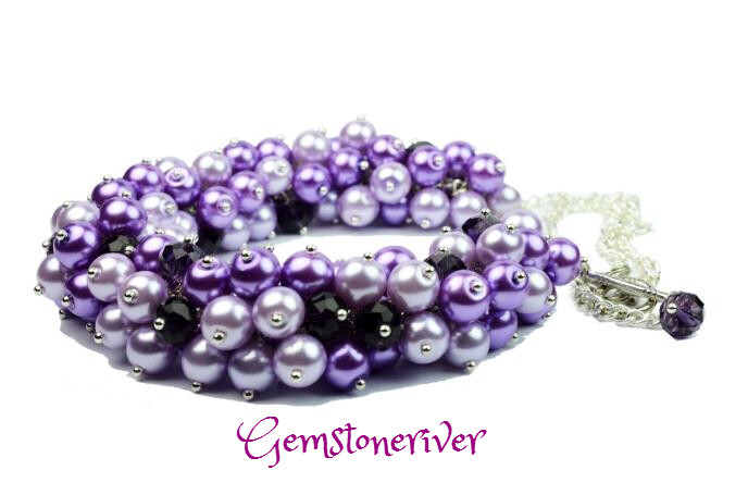 N85 Lilac Purple Pearls Amethyst Necklace Cluster Crystal Chunky Bib Statement - anniversary Birthday Gemstoneriver UK