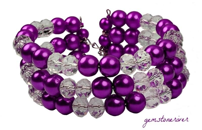 Crystal & Purple Amethyst Pearls - TABETHA - Bridesmaids, Prom, Summer, Party Chunky Cuff Bracelet| Gemstoneriver®