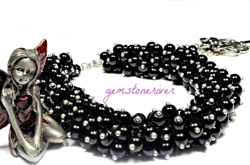 Black Pearl Cluster chunky necklace earring gift set