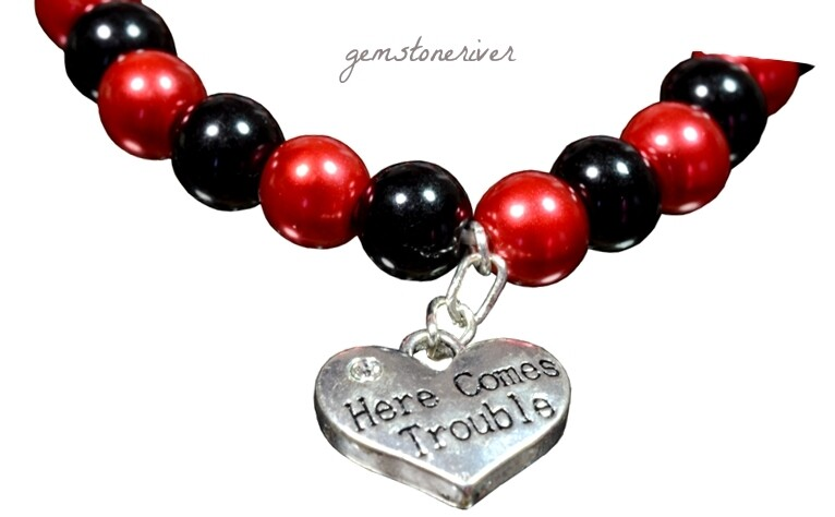Black Red pearl Bracelet here comes TROUBLE charm