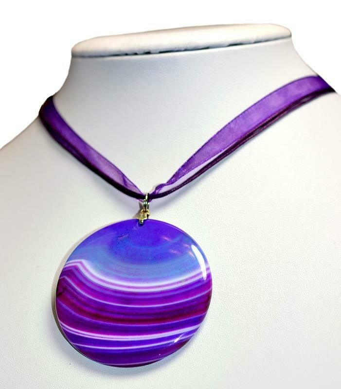 Amethyst Purple, Beige Creamy White, Grape, Violet, Lapis, Onyx Bold Statement Agate Gemstone Pendant Minimalist Bridal, Wedding - UK