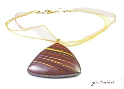 Brown & Golden Tiger eye gemstone pendant necklace