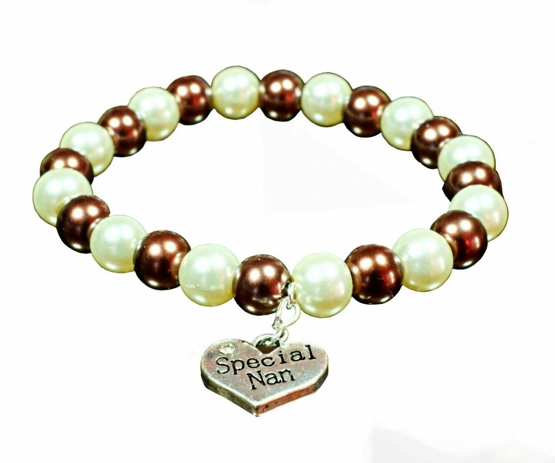 B170 Stylish Chocolate Brown & Cream Ivory Pearl Bracelet Special Nan charm - Melissa | Gemstoneriver® UK