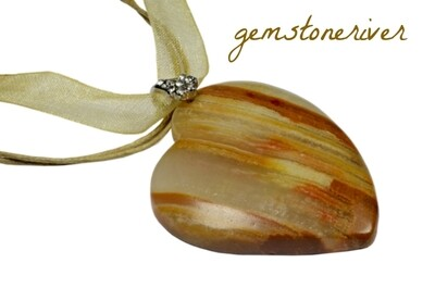G95 Mocha taupe brown tiger eye gemstone Heart Pendant - Bridesmaids Mothers Day Prom Party UK Gemstoneriver