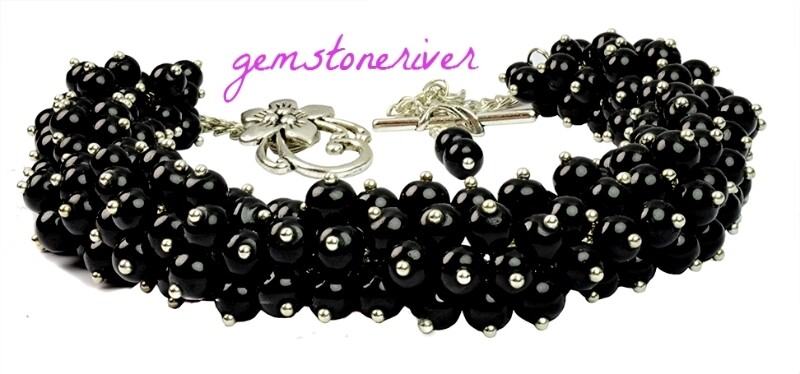 Black Pearl cluster necklace earrings set-  for TW order