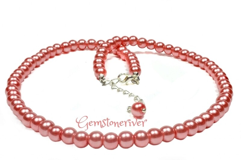 Coral Pink Pearl Necklace & earrings Set | Gemstoneriver® Bridesmaids Flower Girl Mother Office Cocktail Prom