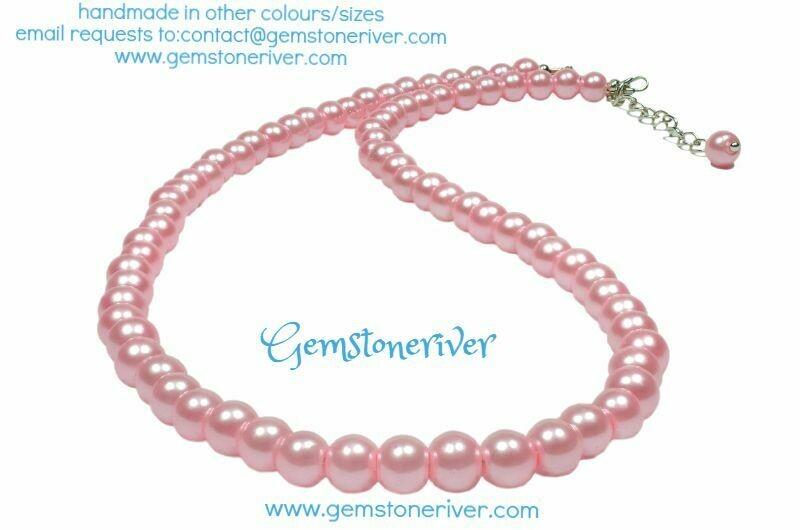 N237 Sherbet Pink Pearl Necklace & Earring Set | Wedding bridesmaid christening UK Gemstoneriver®