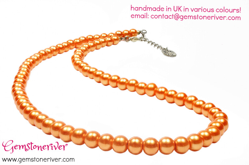 N232 SOLD - 7 sets x Orange Pearl Necklace & Earrings Bridesmaids Custom order TRACEE- USA wedding summer beach holiday jewellery Gemstoneriver