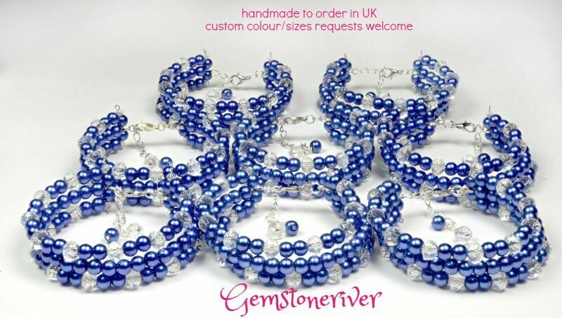 Crystal Quartz & Navy Blue Pearl Bracelet sets- custom order for Tina USA - bridesmaids maid of honor flowergirl wedding holiday party jewelry