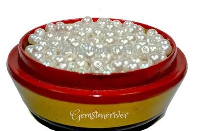 SB301 White pearl beads 100 x 6mm arts craft & jewellery dressmaking wedding supplies UK | Gemstoneriver