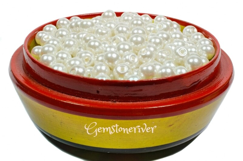 SB308 - 100 x 6mm/8mm x 50 Ivory Cream Pearl beads for arts craft & jewellery designer supplies | Gemstoneriver
