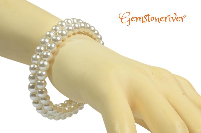 B173 Flexible Double Strand Cuff Bracelet Ivory Cream Pearls - BETH - Bracelet & Earrings SET Bridesmaid, Party & Office Jewellery