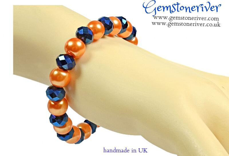 Sparkling Blue Lapis Lazuli Crystal & Orange Pearl Bracelet