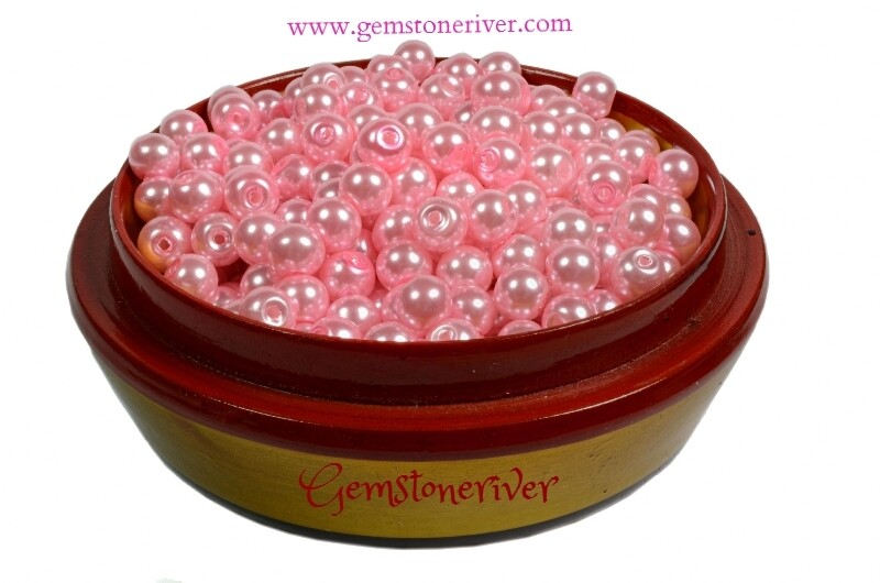 SB310 Pink candy pearl beads 100 x 6mm, arts craft & jewellery supplies Gemstoneriver UK