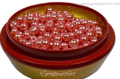 SB312 - 100 x coral pearl beads 6mm - arts craft & jewellery supplies UK Gemstoneriver